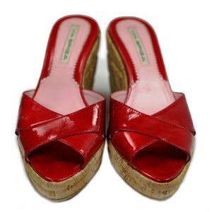 Via Spiga Red Patent Leather Cork Wedge Shoes